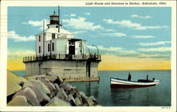 Light House And Entrance To Harbor