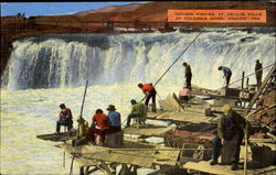 Indians Fishing At Celilio Falls