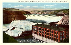 Great Falls Of The Missouri Volta Dam And Power House