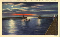 Lighthouse And Foghorn On Piers At Night, Outer Harbor