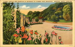 Floral Display And Fountain At Entrance To Chimney Rock Mountain