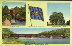 Old Canal Lock Independence Elm Tree Pennsylvania's State Flag And Longest Covered Bridge