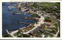 Aerial View Of St. Ignace, Indian Village In Foreground