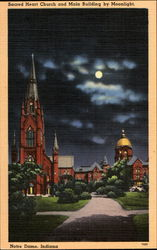 Sacred Heart Church And Main Building By Moonlight
