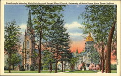 Quadrangle Showing Main Building And Sacred Heart Church, University of Notre Dame