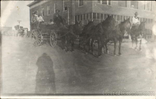 Cowboys Horses with Wagon Unidentified People