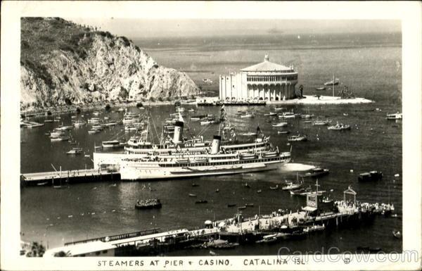 Steamers At Pier, Casino Catalina Island California