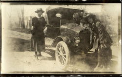 Women with Old Car