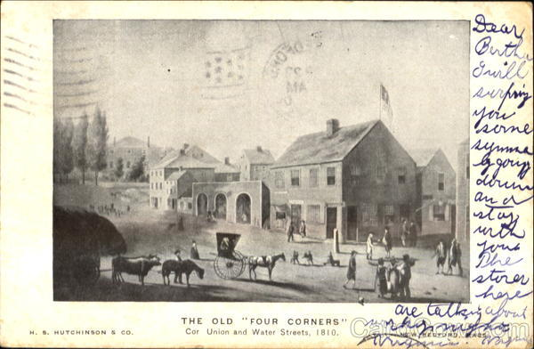 The Old Four Corners, Car Union and Water Streets, 1810 New Bedford Massachusetts