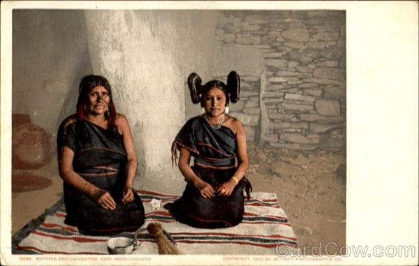 Mother And Daughter Hopi (Moki) Indians Native Americana
