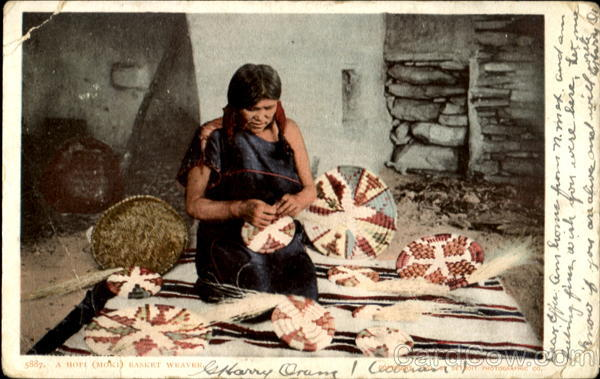 A Hopi (Moki) Basket Weaver Native Americana