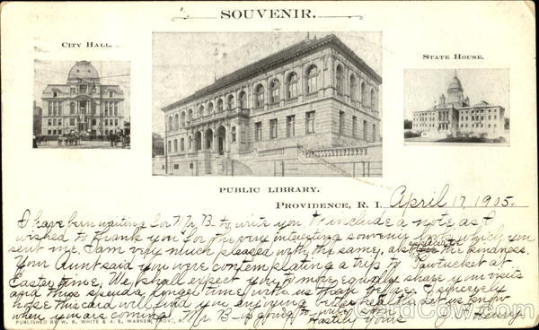 Souvenir - City Hall Public Library And State House Providence Rhode Island