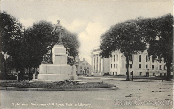 Soldiers Monument & Lynn Public Library Massachusetts