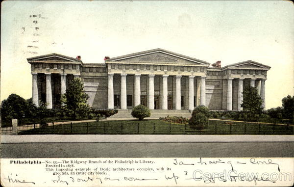 The Ridgway Branch Of The Philadelphia Library Pennsylvania