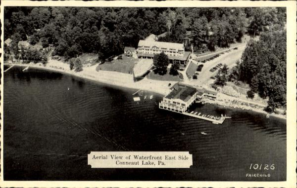 Aerial View Of Waterfront East Side Conneaut Lake Pennsylvania