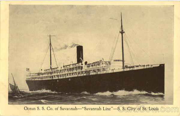 Ocean SS Co Savannah Line SS City of St. Louis Boats, Ships