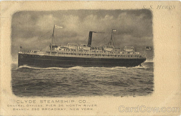 Clyde Steamship Co S.S. Huron Boats, Ships
