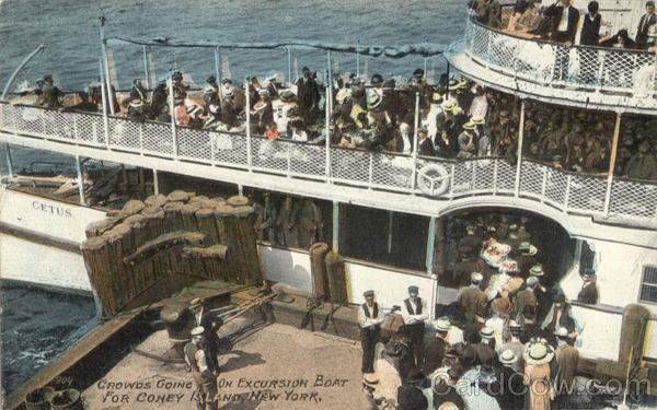 Crowds going on Excursion Boat Cetus for Coney Island New York