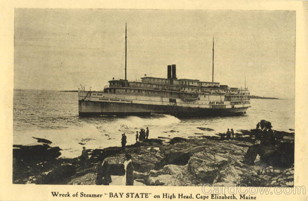 Wreck of Steamer Bay State on High Head Cape Elizabeth Maine