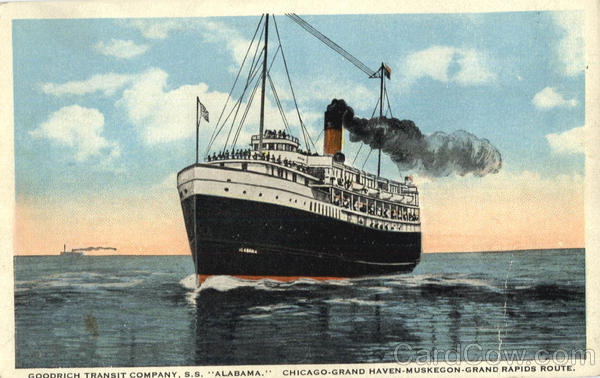 Goodrich Transit Company, S.S. Alabama. Chicago-Grand Haven-Muskegon-Grand Rapids Route