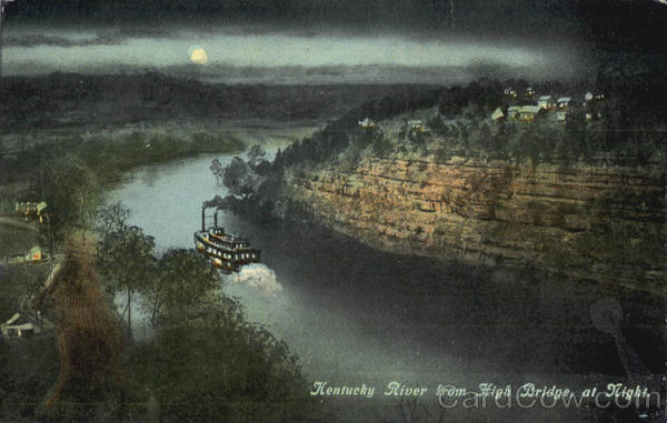 Kentucky River from High Bridge, at Night
