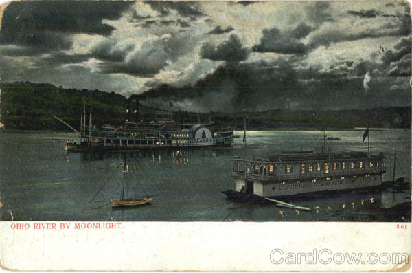 Steamer on Ohio River by Moonlight Boats, Ships