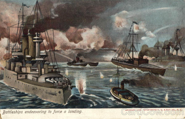 Battleships endeavoring to force a landing Boats, Ships