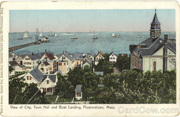 View of City, Town Hall and Boat Landing Provincetown Massachusetts