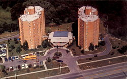 The Twin Towers Senior Housing Complex Postcard