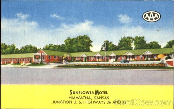 Sunflower Motel, Junction U. S. Highways 36 and 73 Hiawatha Kansas