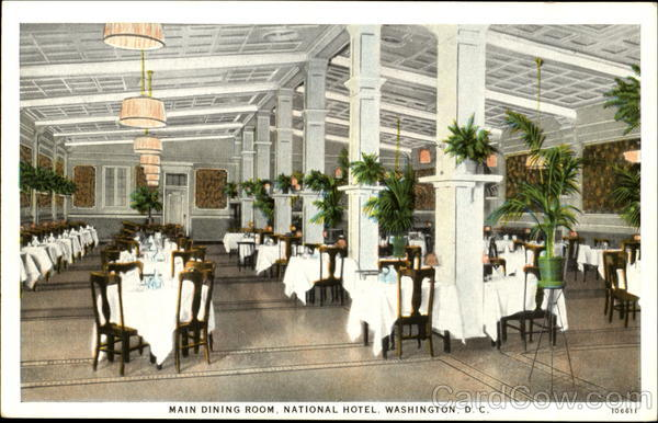 Main Dining Room National Hotel Washington District of Columbia