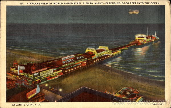 Airplane View Of World Famed Steel Pier By Night Atlantic City New Jersey