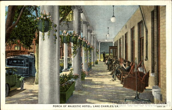 Porch Of Majestic Hotel Lake Charles Louisiana