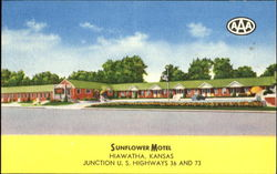 Sunflower Motel, Junction U. S. Highways 36 and 73 Postcard