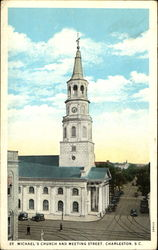 St. Michael's Church And Meeting Street Postcard