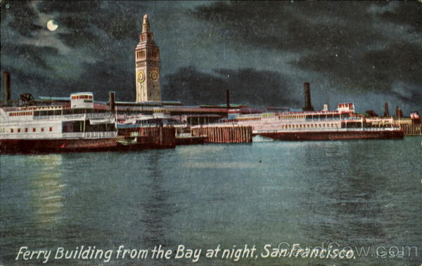 Ferry Building From The Bay At Night San Francisco California