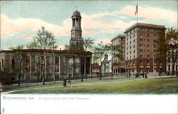 St. Paul's Church And Hotel Richmond Postcard