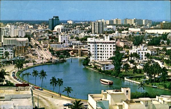 Aerial View Of Famed Lake Pancoast Miami Beach Florida