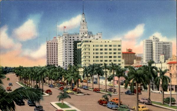 Biscayne Blvd Looking South, N. E. 5th Street Miami Florida