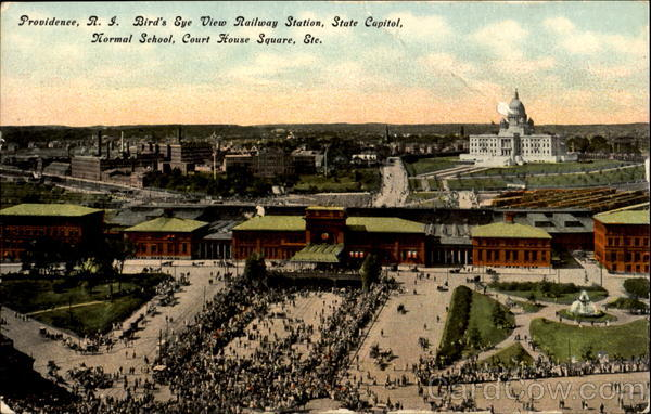 Bird's Eye View Railway Station, Court House Square Providence Rhode Island