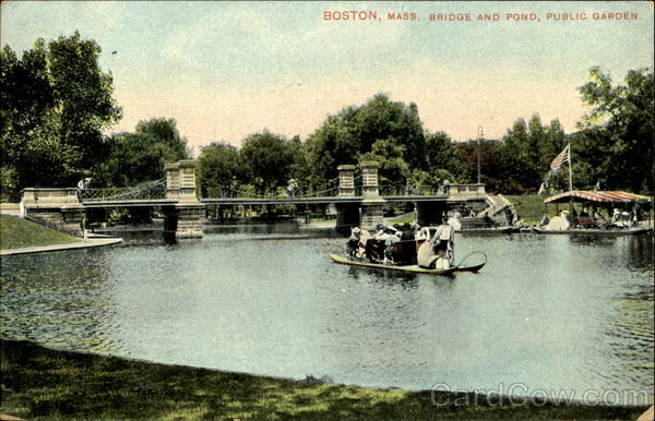 Bridge And Pond, Public Gardens Boston Massachusetts