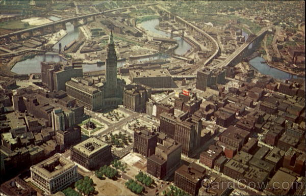 Aerial View Of Downtown Cleveland Ohio