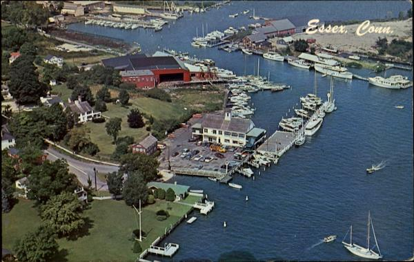 Aerial View Of Docking Facilities And Waterfront Essex Connecticut