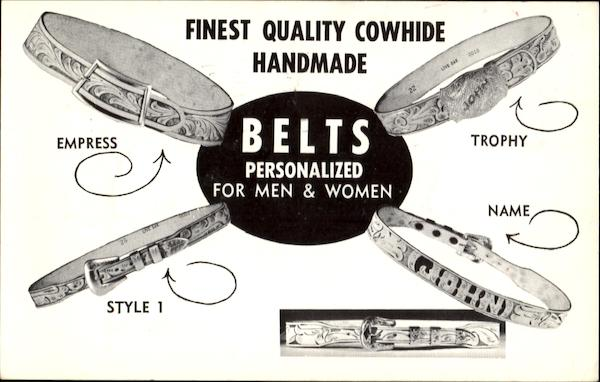 Finest Quality Cowhide Belts Arizona Advertising
