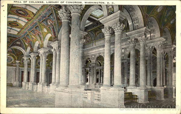 Hall Of Columns, Library of Congress Washington District of Columbia
