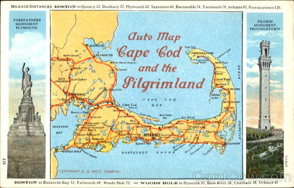 Auto Map Cape Cod And The Pilgrimland Massachusetts