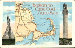 Boston To Cape Cod Auto Map Postcard