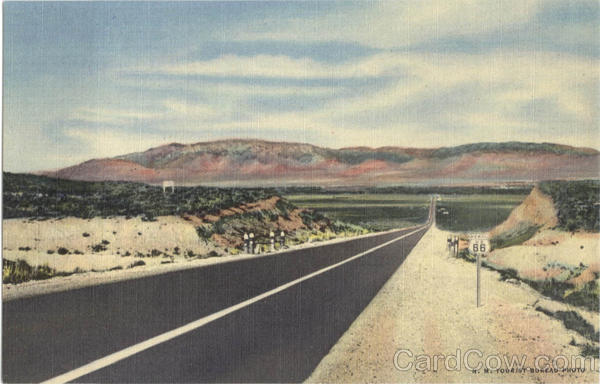 Highway U. S. 66 Entering Rio Grande Valley at Albuquerque N. Mex. With Sandia Mountains in the Background