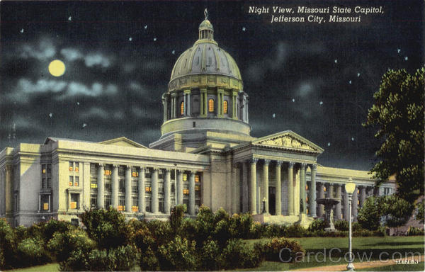 Night View, Missouri State Capitol Jefferson City
