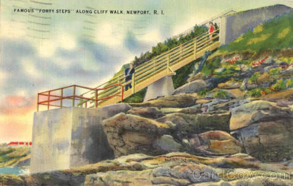 Famous Forty Steps Along Cliff Walk Newport Rhode Island